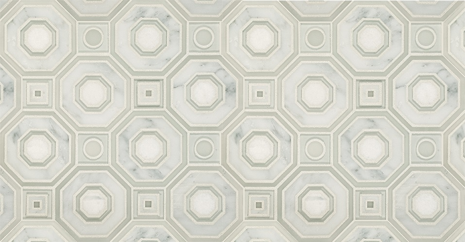 fabric of a similar pattern was used on the kitchen barstools as a way to continue this motif throughout the space visually